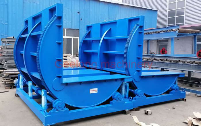 two set overturning machine for plywood board container loading